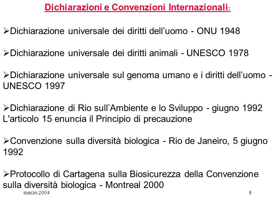 Dichiarazioni e Convenzioni Internazionali: