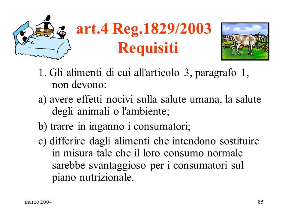 art.4 Reg.1829/2003 Requisiti 1. Gli alimenti di cui all articolo 3, paragrafo 1, non devono: