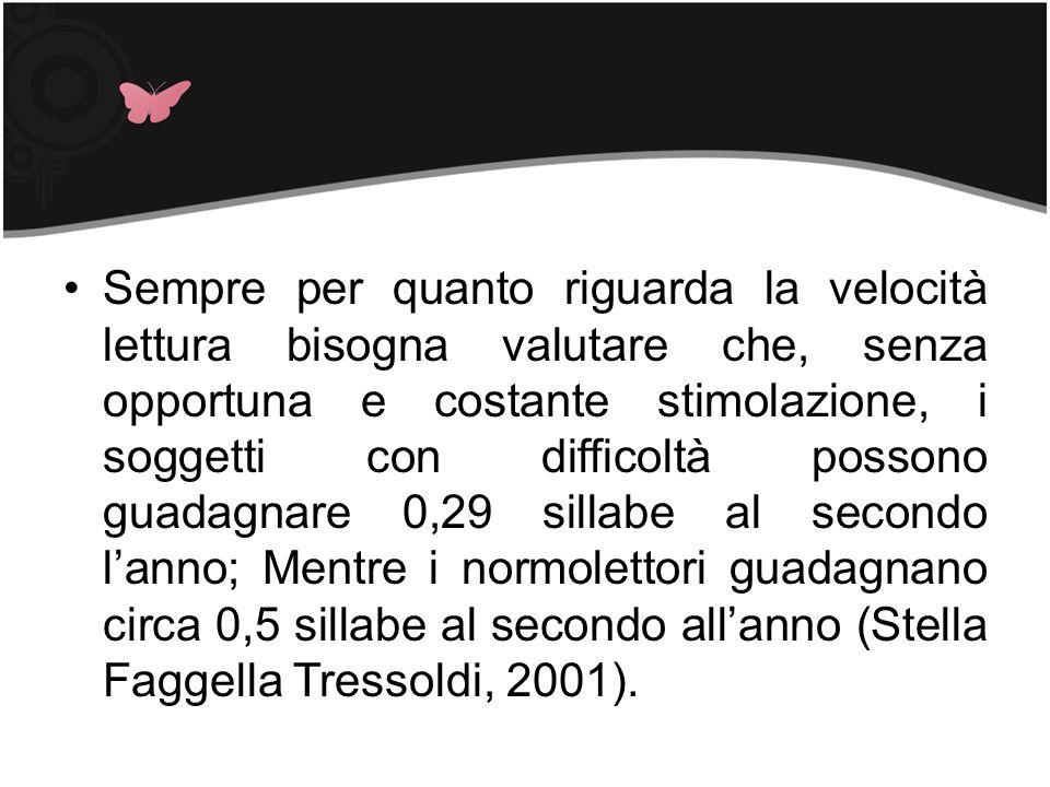 Sempre per quanto riguarda la velocità lettura bisogna valutare che, senza opportuna e costante stimolazione, i soggetti con difficoltà possono guadagnare 0,29 sillabe al secondo l'anno; Mentre i normolettori guadagnano circa 0,5 sillabe al secondo all'anno (Stella Faggella Tressoldi, 2001).