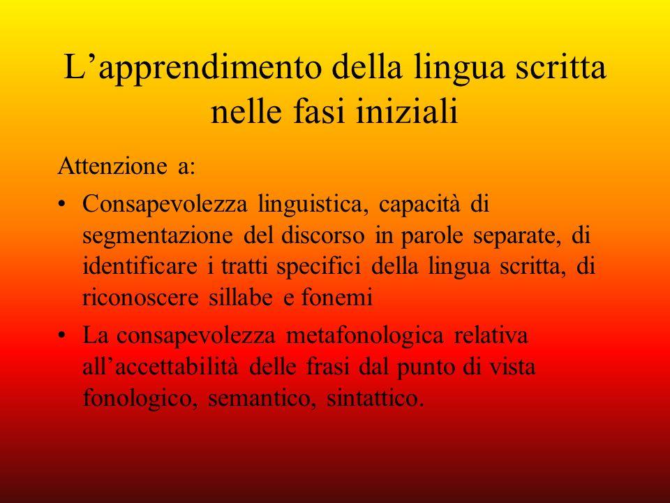 L'apprendimento della lingua scritta nelle fasi iniziali