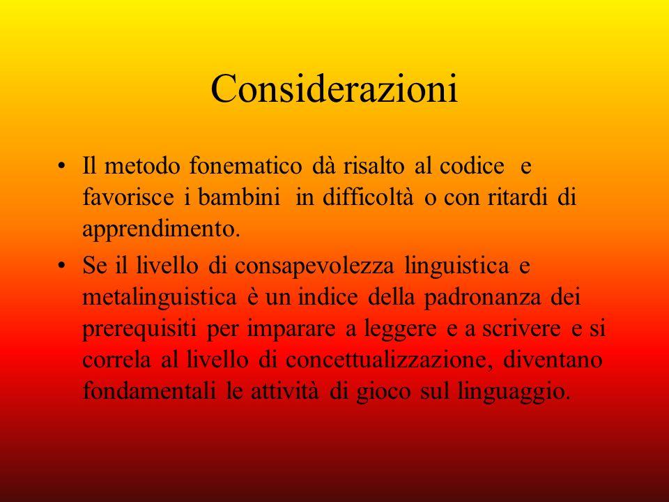 Considerazioni Il metodo fonematico dà risalto al codice e favorisce i bambini in difficoltà o con ritardi di apprendimento.