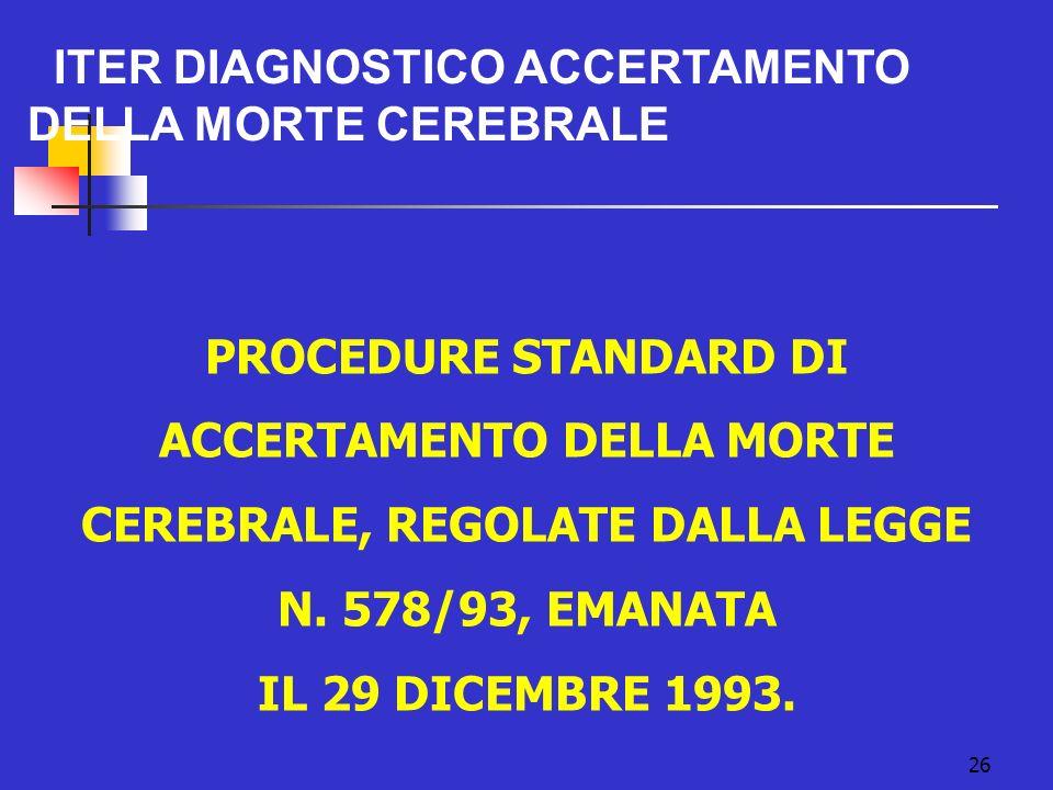 ITER DIAGNOSTICO ACCERTAMENTO DELLA MORTE CEREBRALE