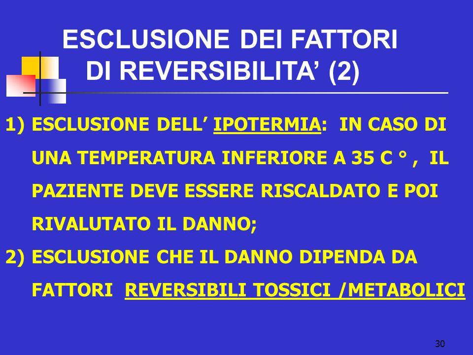 ESCLUSIONE DEI FATTORI DI REVERSIBILITA' (2)
