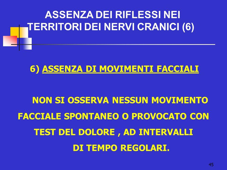6) ASSENZA DI MOVIMENTI FACCIALI