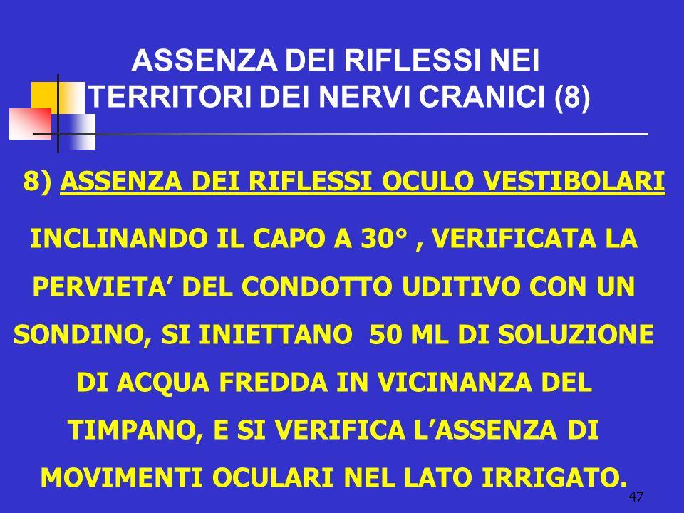 8) ASSENZA DEI RIFLESSI OCULO VESTIBOLARI