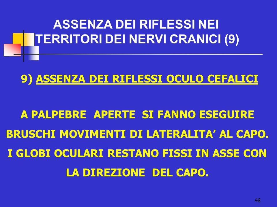 9) ASSENZA DEI RIFLESSI OCULO CEFALICI