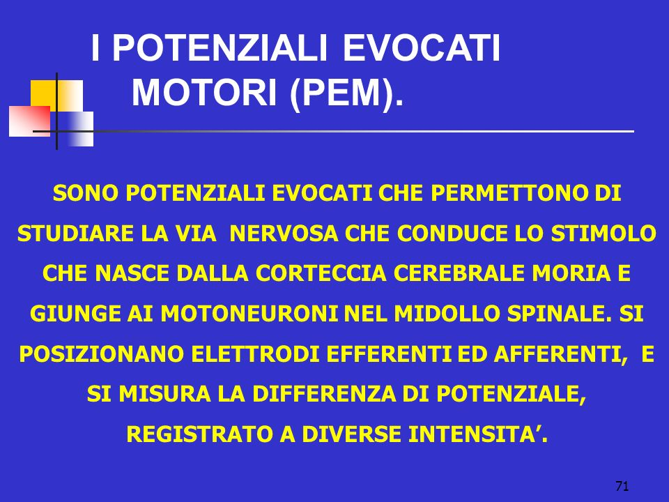 I POTENZIALI EVOCATI MOTORI (PEM).