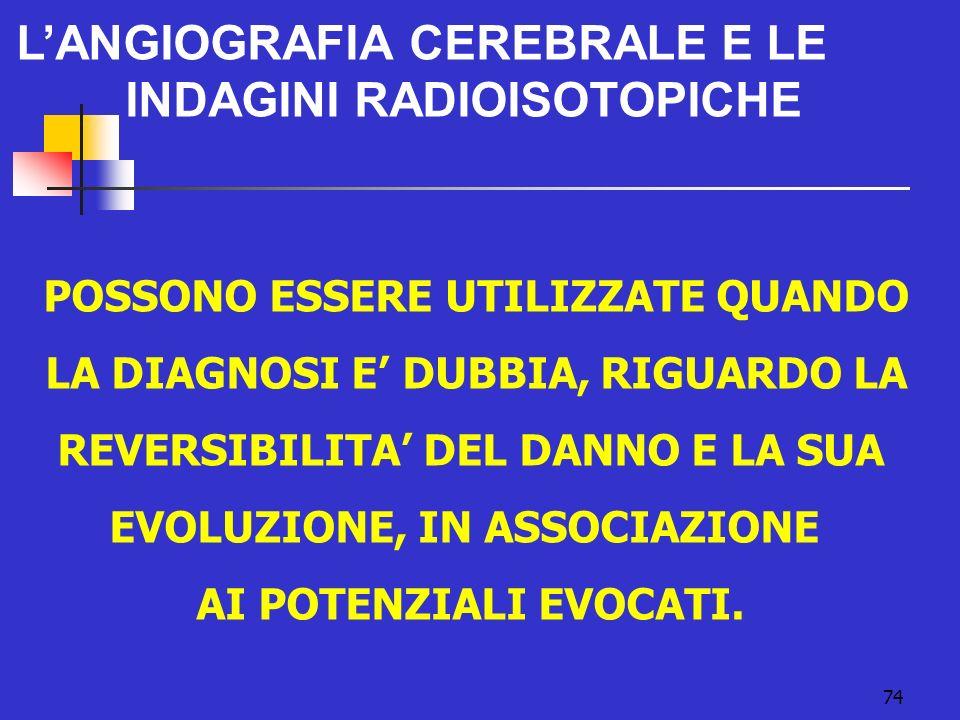 L'ANGIOGRAFIA CEREBRALE E LE INDAGINI RADIOISOTOPICHE