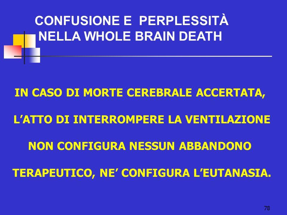 CONFUSIONE E perplessità NELLA WHOLE BRAIN DEATH