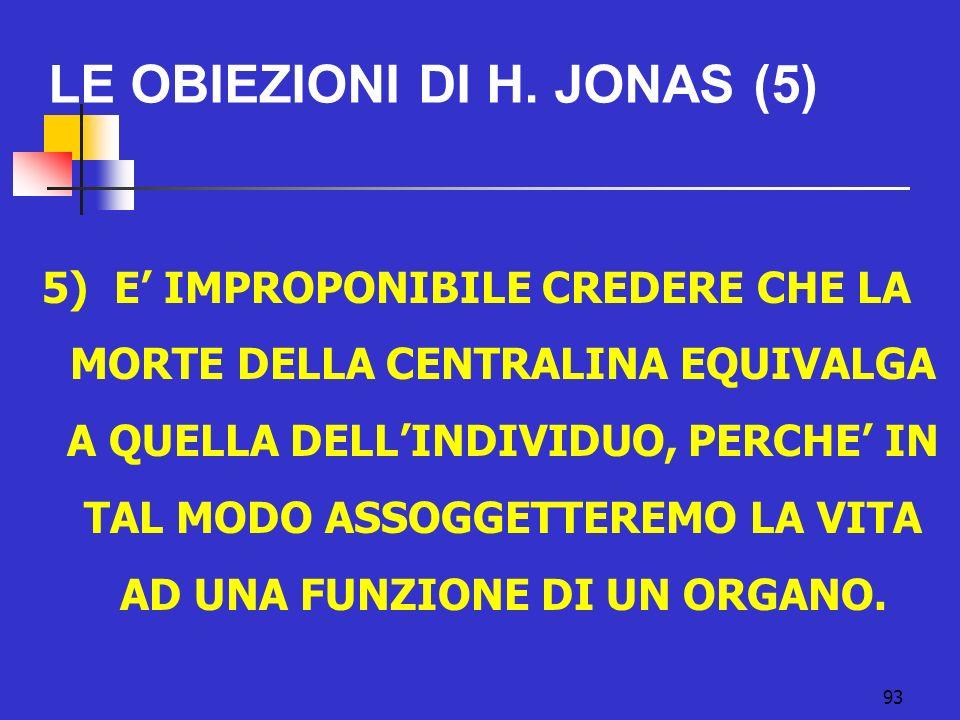 LE OBIEZIONI DI H. JONAS (5)