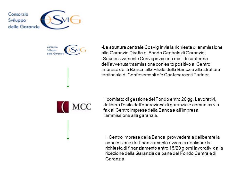 La struttura centrale Cosvig invia la richiesta di ammissione alla Garanzia Diretta al Fondo Centrale di Garanzia;