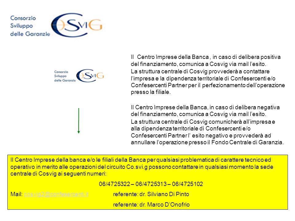 Il Centro Imprese della Banca , in caso di delibera positiva del finanziamento, comunica a Cosvig via mail l'esito.