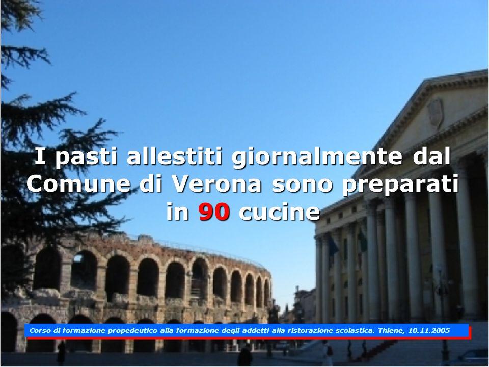 I pasti allestiti giornalmente dal Comune di Verona sono preparati in 90 cucine