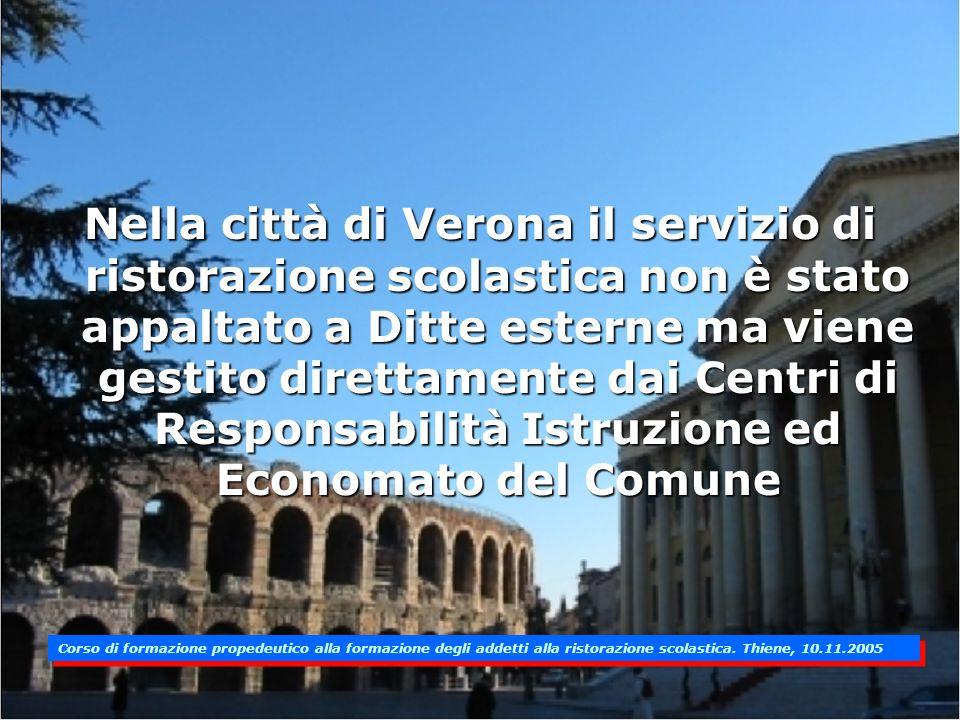 Nella città di Verona il servizio di ristorazione scolastica non è stato appaltato a Ditte esterne ma viene gestito direttamente dai Centri di Responsabilità Istruzione ed Economato del Comune