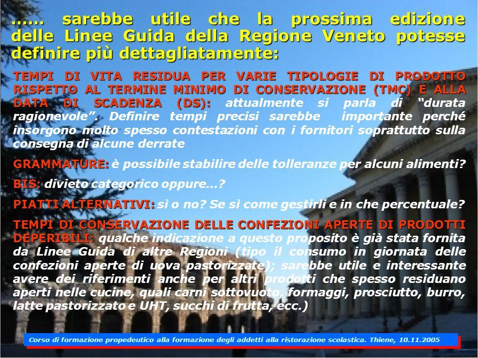 …… sarebbe utile che la prossima edizione delle Linee Guida della Regione Veneto potesse definire più dettagliatamente: