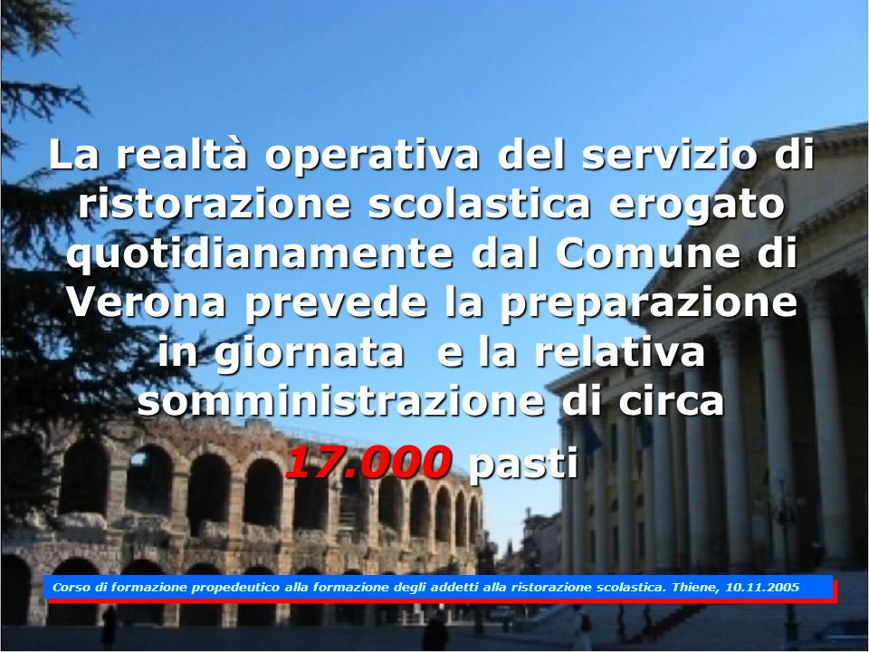 La realtà operativa del servizio di ristorazione scolastica erogato quotidianamente dal Comune di Verona prevede la preparazione in giornata e la relativa somministrazione di circa