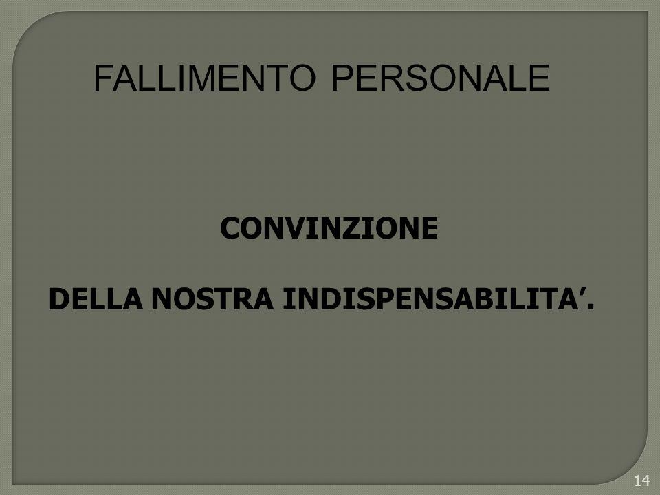 FALLIMENTO PERSONALE CONVINZIONE DELLA NOSTRA INDISPENSABILITA'.