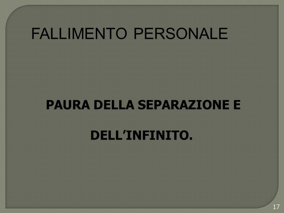 FALLIMENTO PERSONALE PAURA DELLA SEPARAZIONE E DELL'INFINITO.