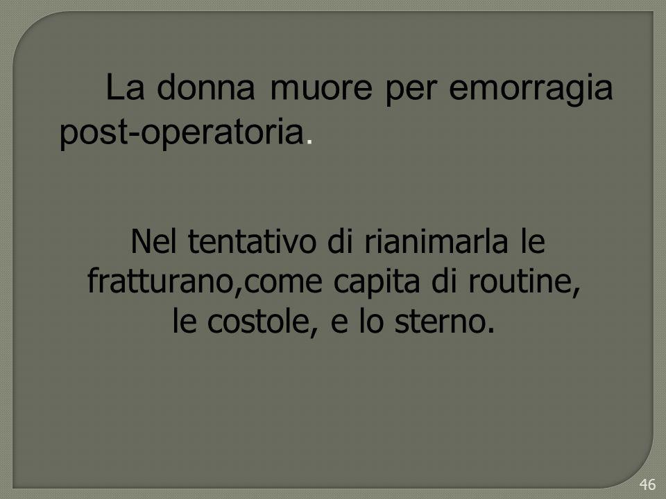 La donna muore per emorragia post-operatoria.