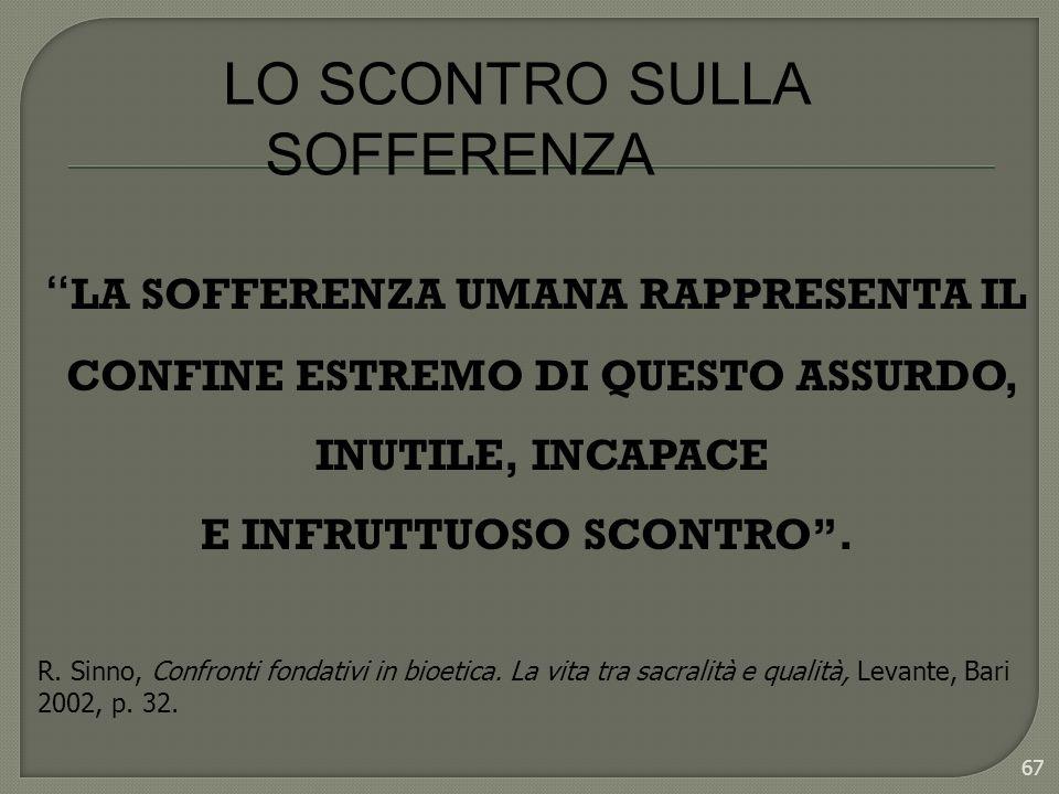 LO SCONTRO SULLA SOFFERENZA