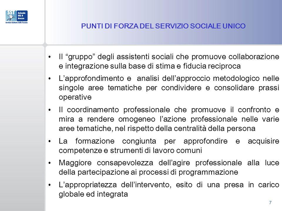 PUNTI DI FORZA DEL SERVIZIO SOCIALE UNICO