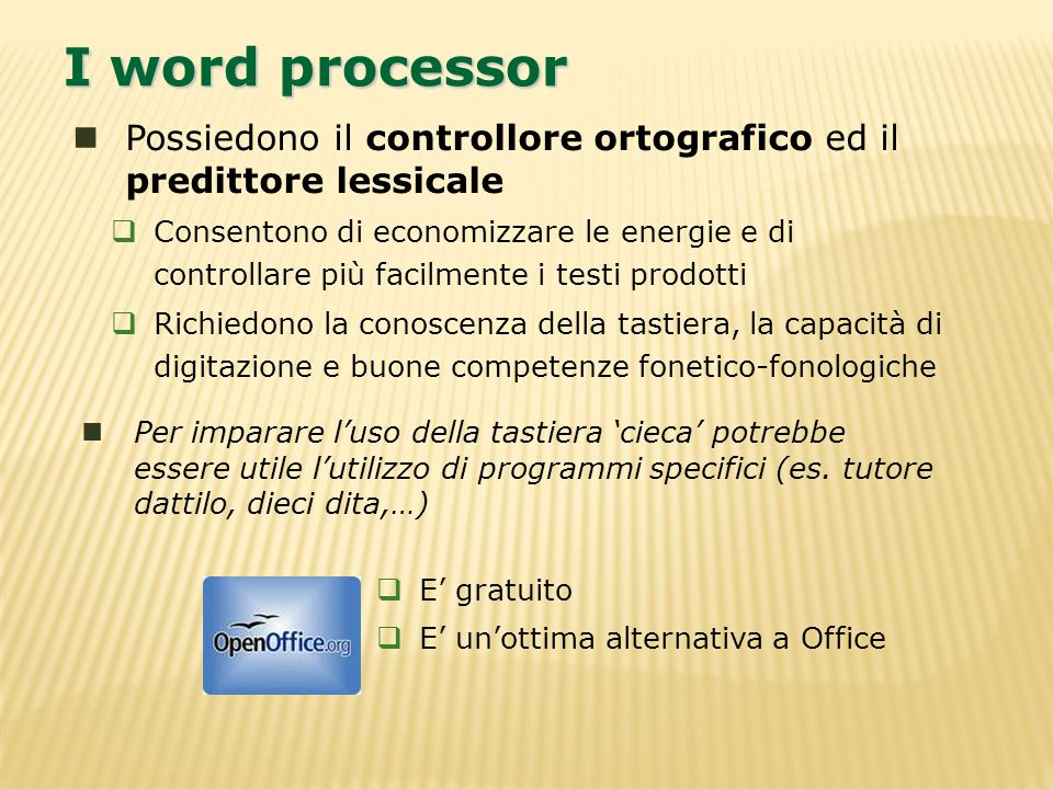 I word processor Possiedono il controllore ortografico ed il predittore lessicale.
