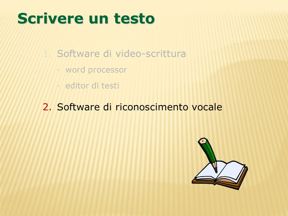 Scrivere un testo Software di video-scrittura