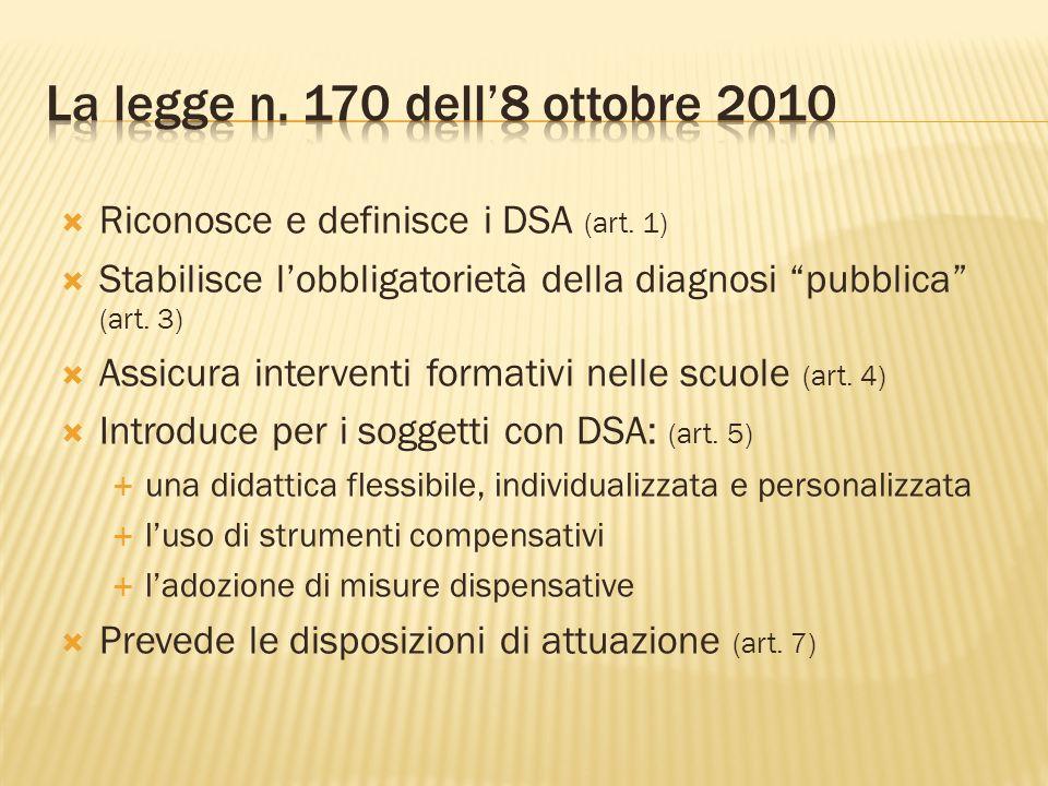 La legge n. 170 dell'8 ottobre 2010