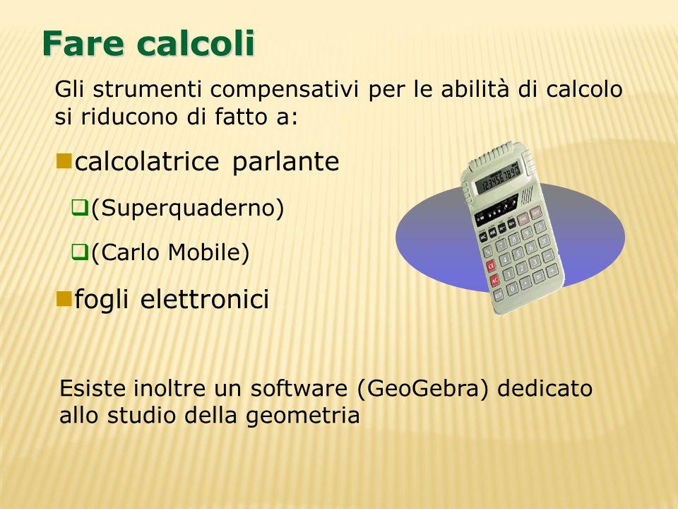 Fare calcoli calcolatrice parlante fogli elettronici