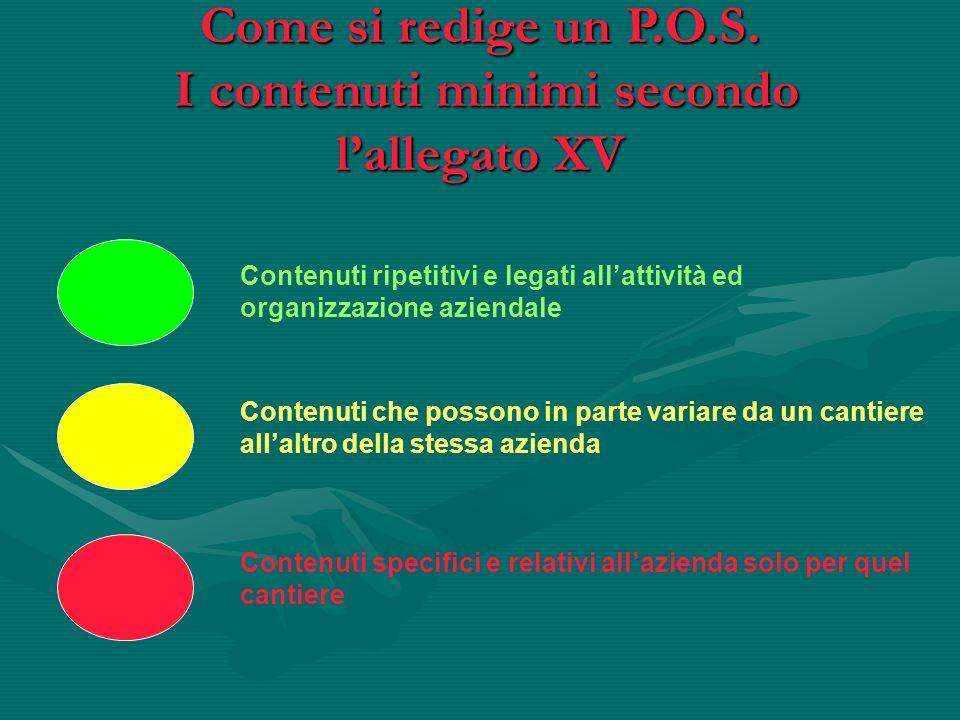 Come si redige un P.O.S. I contenuti minimi secondo l'allegato XV
