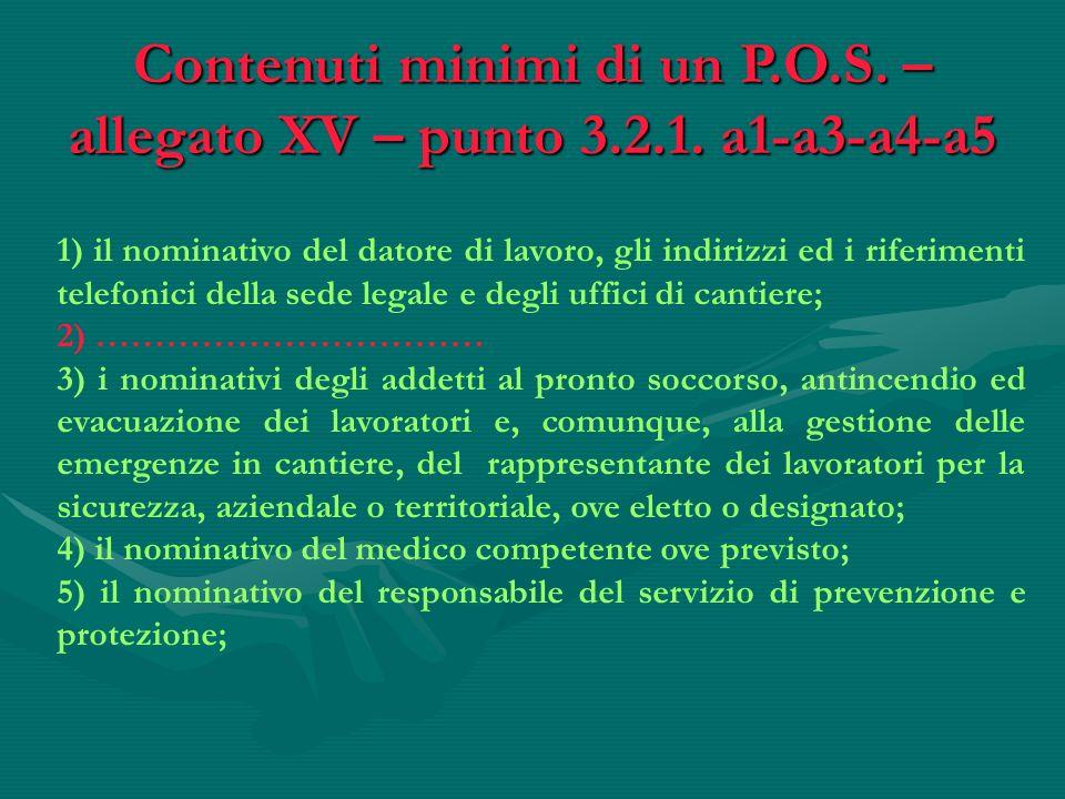 Contenuti minimi di un P.O.S. – allegato XV – punto 3.2.1. a1-a3-a4-a5