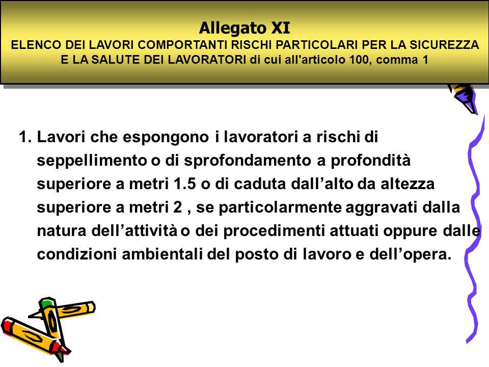 Allegato XIELENCO DEI LAVORI COMPORTANTI RISCHI PARTICOLARI PER LA SICUREZZA E LA SALUTE DEI LAVORATORI di cui all articolo 100, comma 1.
