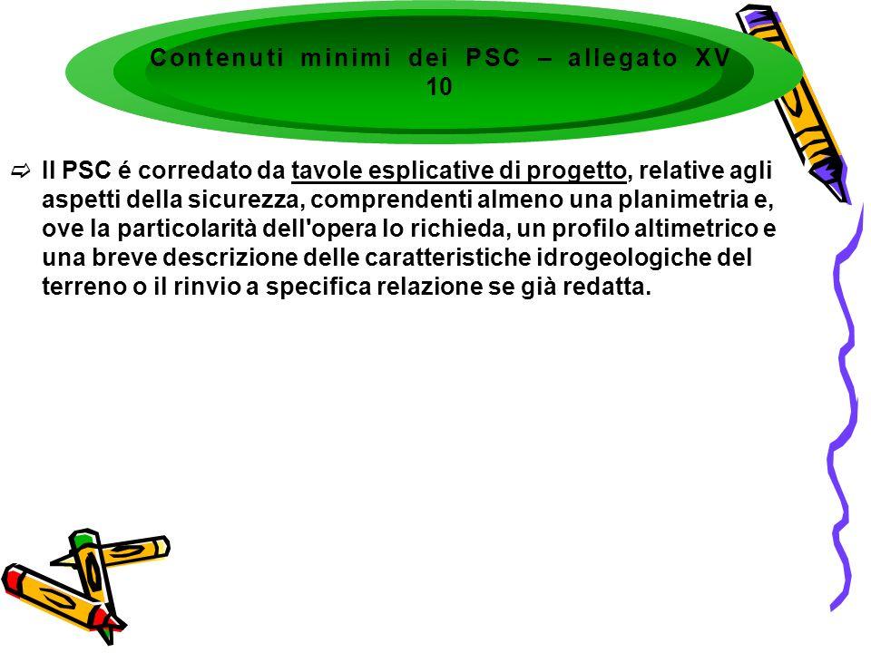 Contenuti minimi dei PSC – allegato XV