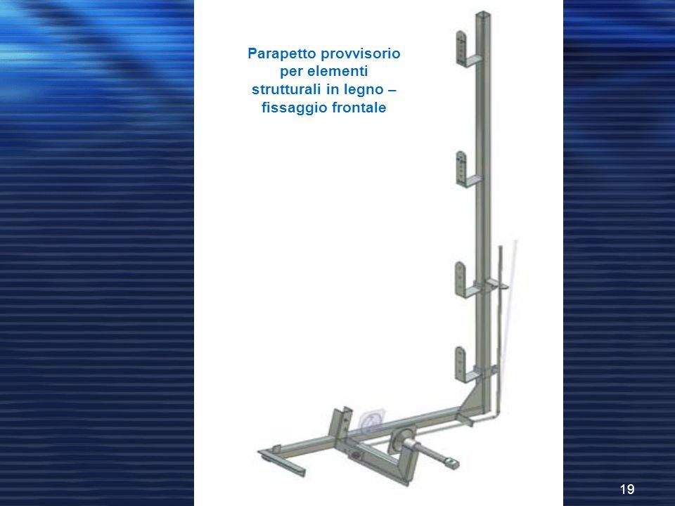 Parapetto provvisorio per elementi strutturali in legno – fissaggio frontale