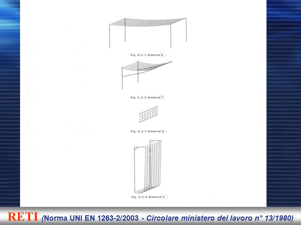 RETI (Norma UNI EN 1263-2/2003 - Circolare ministero del lavoro n° 13/1980)