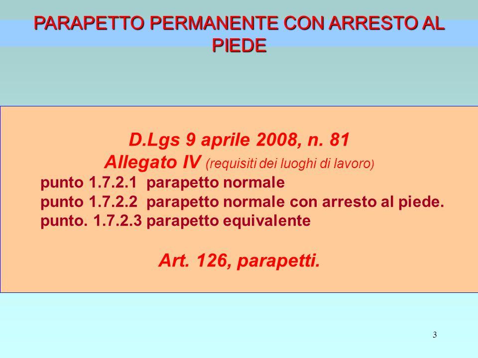 D.Lgs 9 aprile 2008, n. 81 Art. 126, parapetti.
