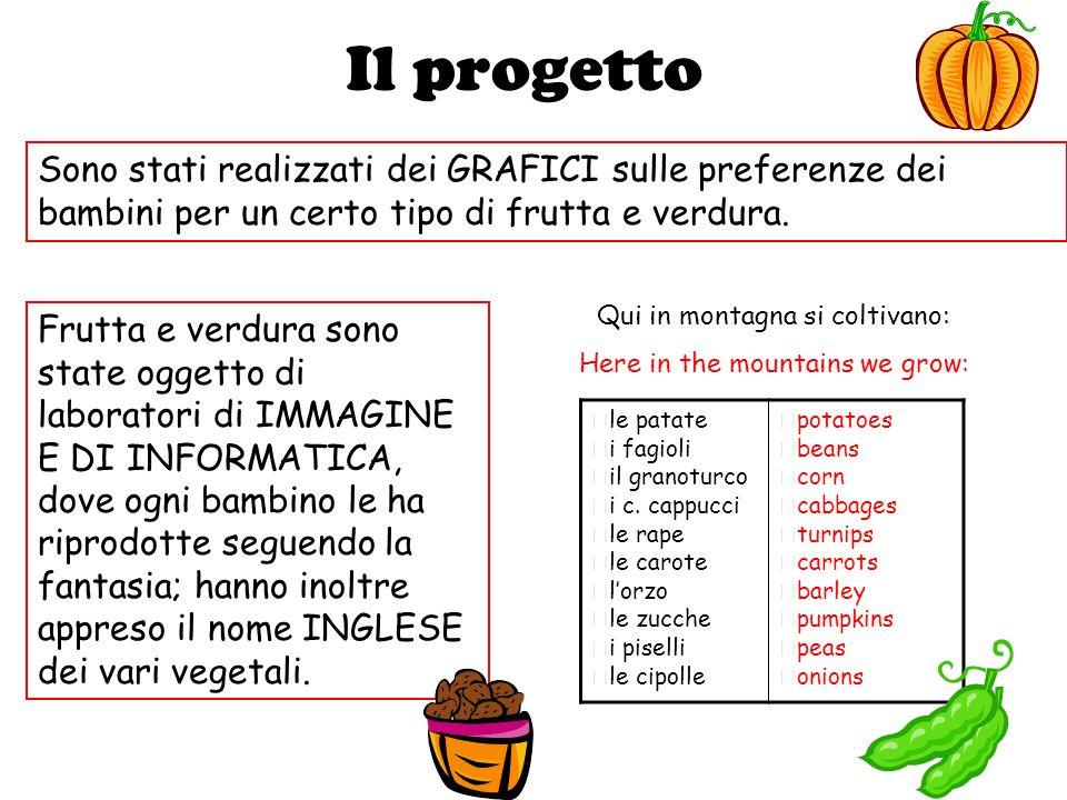 Il progetto Sono stati realizzati dei GRAFICI sulle preferenze dei bambini per un certo tipo di frutta e verdura.