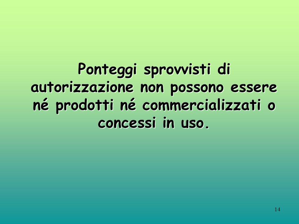 Ponteggi sprovvisti di autorizzazione non possono essere né prodotti né commercializzati o concessi in uso.