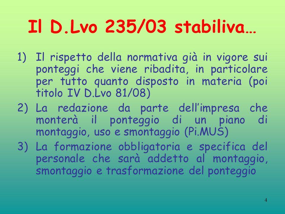 Il D.Lvo 235/03 stabiliva…