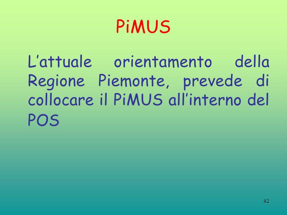 PiMUS L'attuale orientamento della Regione Piemonte, prevede di collocare il PiMUS all'interno del POS.