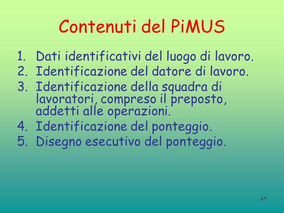 Contenuti del PiMUS Dati identificativi del luogo di lavoro.