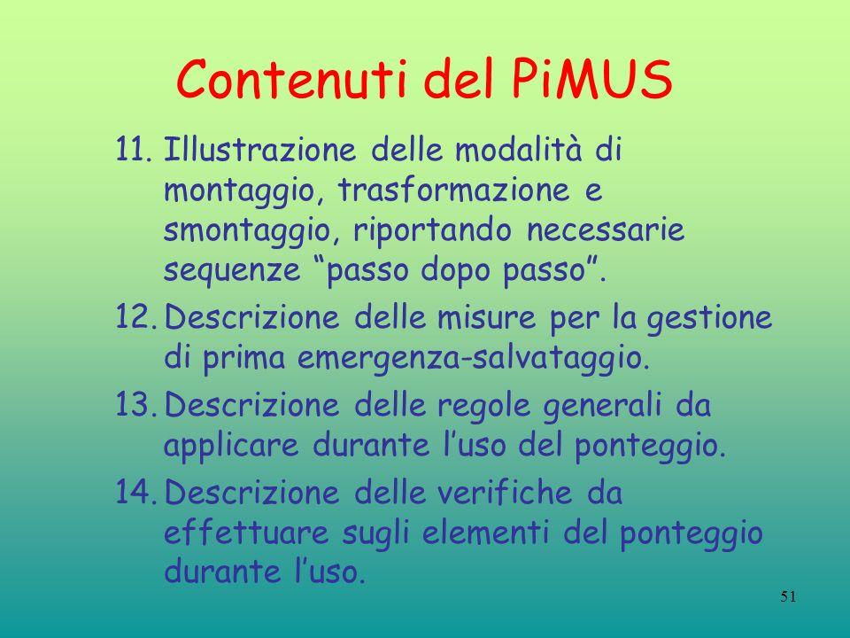 Contenuti del PiMUS Illustrazione delle modalità di montaggio, trasformazione e smontaggio, riportando necessarie sequenze passo dopo passo .