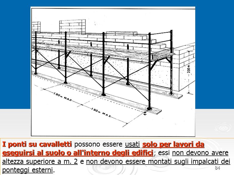 I ponti su cavalletti possono essere usati solo per lavori da eseguirsi al suolo o all interno degli edifici; essi non devono avere altezza superiore a m. 2 e non devono essere montati sugli impalcati dei ponteggi esterni.