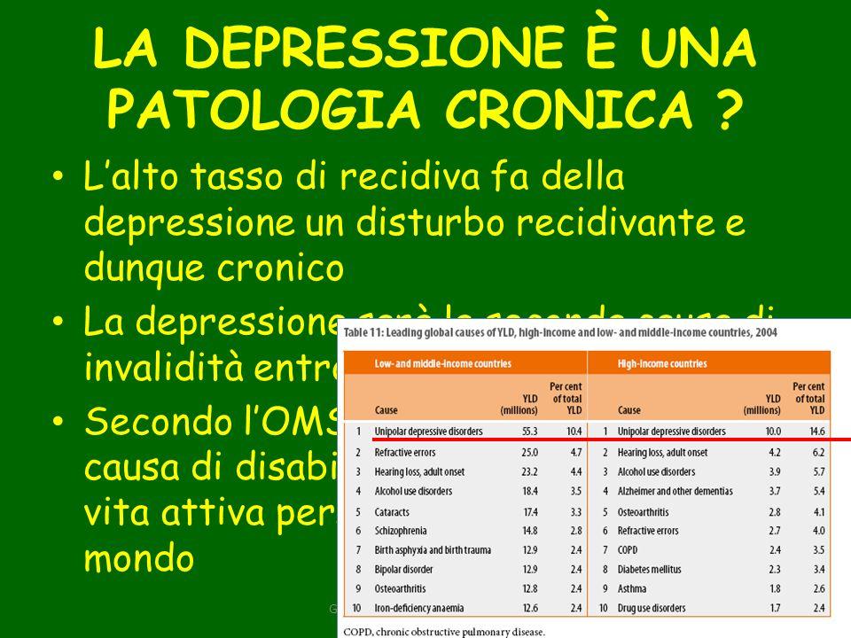 LA DEPRESSIONE È UNA PATOLOGIA CRONICA