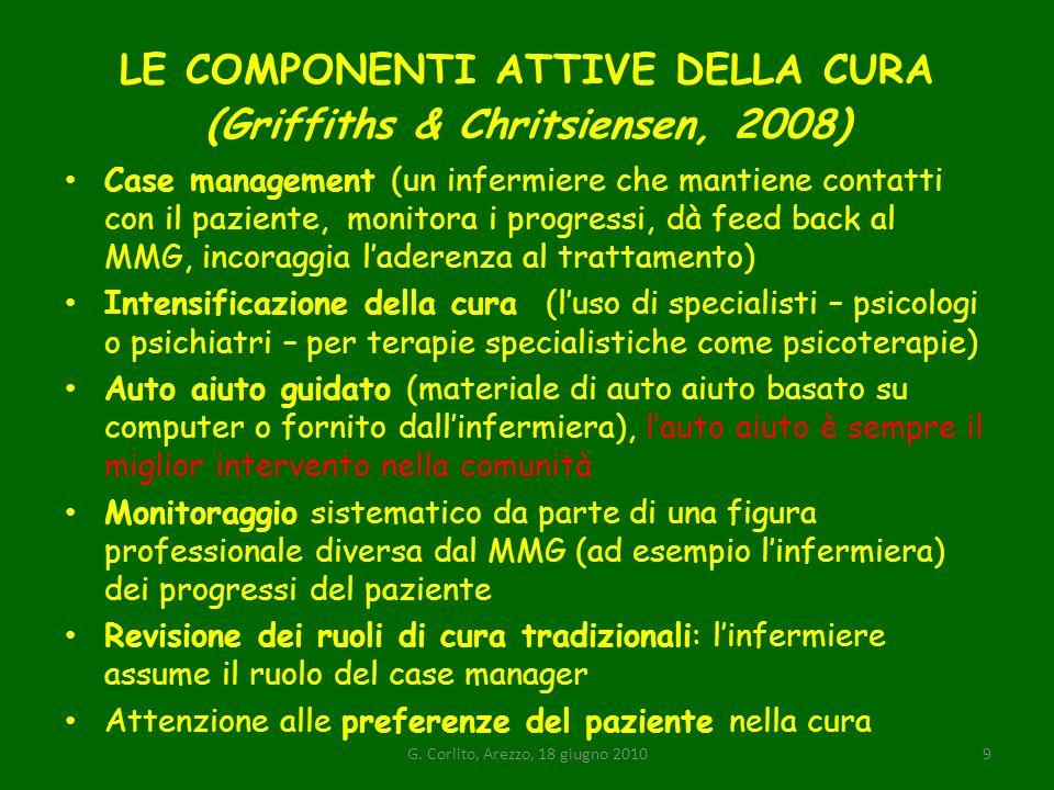 LE COMPONENTI ATTIVE DELLA CURA (Griffiths & Chritsiensen, 2008)