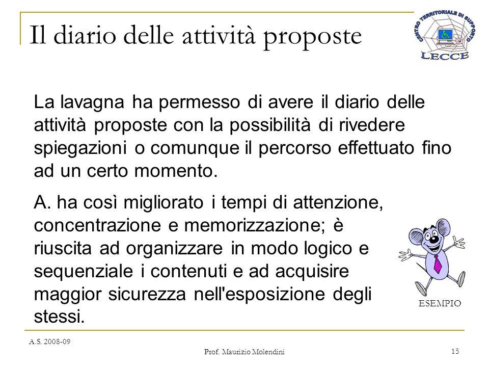 Il diario delle attività proposte