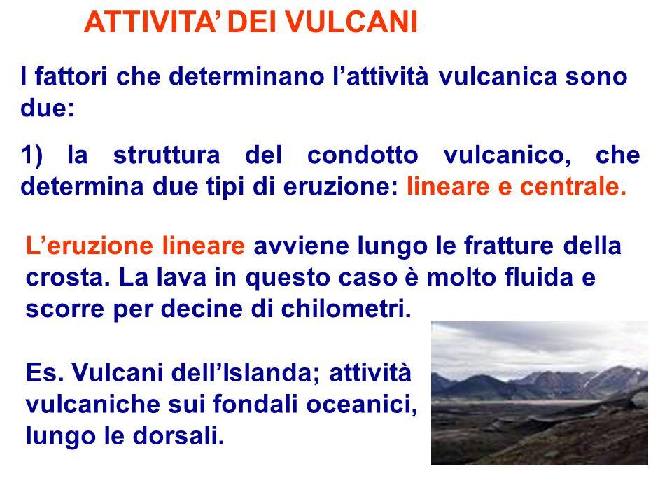 ATTIVITA' DEI VULCANI I fattori che determinano l'attività vulcanica sono due: