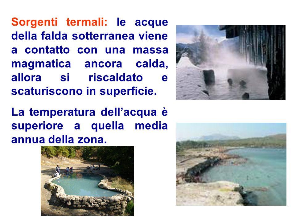 Sorgenti termali: le acque della falda sotterranea viene a contatto con una massa magmatica ancora calda, allora si riscaldato e scaturiscono in superficie.