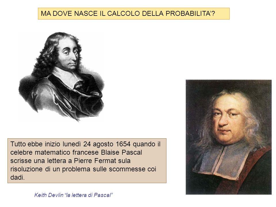 MA DOVE NASCE IL CALCOLO DELLA PROBABILITA'