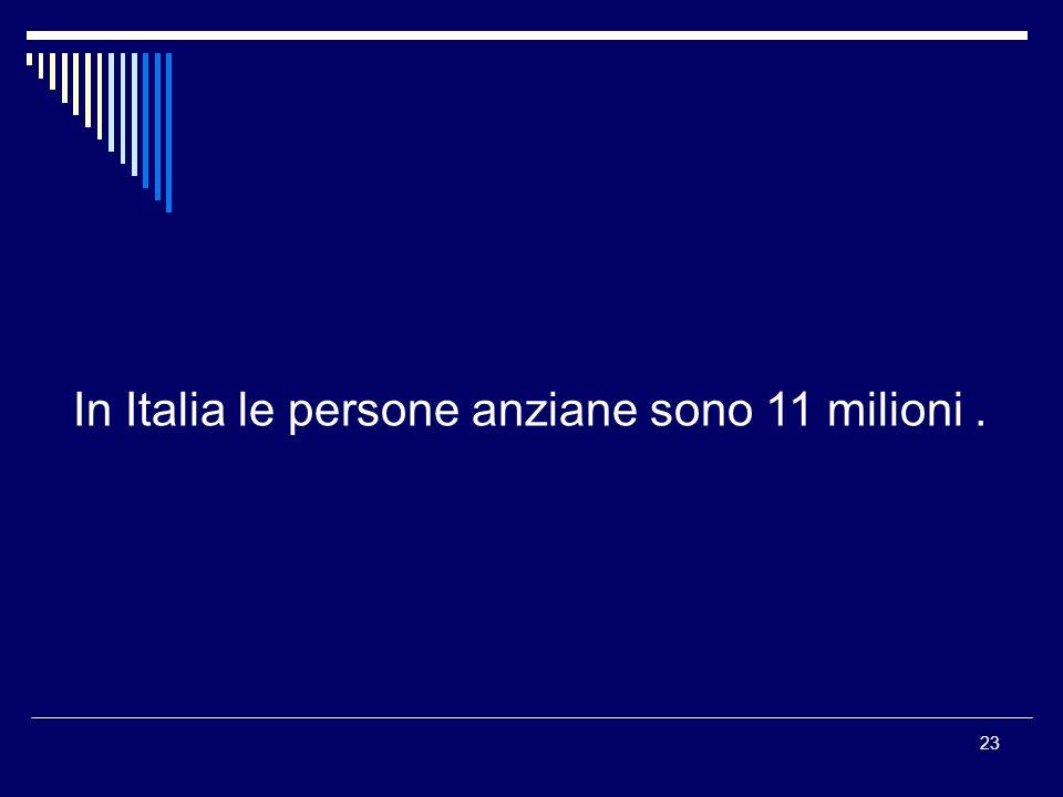 In Italia le persone anziane sono 11 milioni .